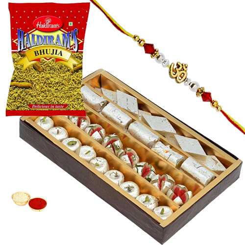 Charismatic Rakhi with Haldirams 200 gm. Bhujia, 500 gm. Assorted Sweets and Handmade Paper Card<br /><font color=#0000FF>Free Delivery in USA</font>