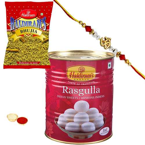 Charming Rakhi, 1Kg. Rasgulla Pack and 200 gm. Bhujia from Haldiram and a Handmade Paper Card<br /><font color=#0000FF>Free Delivery in USA</font>