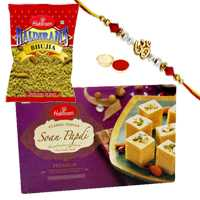 One or More Designer Ethnic Rakhi with 500 Gms. Haldirams Soan Papri n 200 Gms. Haldirams Bhujia<br /><font color=#0000FF>Free Delivery in USA</font>