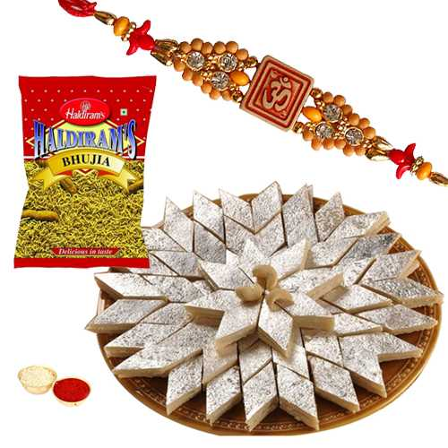 One or More Designer Ethnic Rakhi with 500 Gms. Kaju Katli n 200 Gms. Haldirams Bhujia<br /><font color=#0000FF>Free Delivery in USA</font>