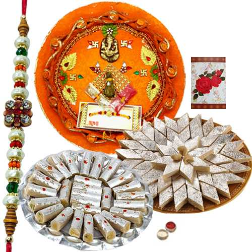 Rakhi Thali with One or More Rakhis, 250 Gms. Kaju roll n 250 Gms. Kaju Katli<br /><font color=#0000FF>Free Delivery in USA</font>