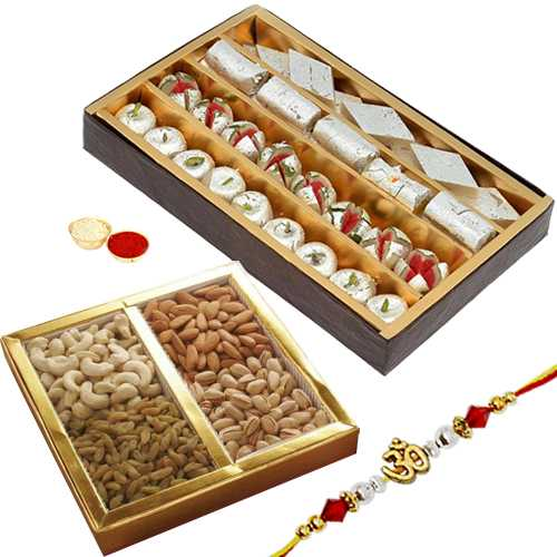 Yummy Sweets and Dry Fruits Combo Hamper with Rakhi<br /><font color=#0000FF>Free Delivery in USA</font>