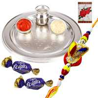 Superb Zardosi Rakhi with 2 Chocolates and Silver Thali
