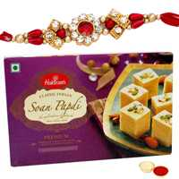 Mouth-Watering 250 Gms. Haldirams Soan Papri with Jewel Studded Rakhi<br /><font color=#0000FF>Free Delivery in USA</font>