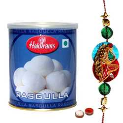 Graceful 1 Kg. Haldirams Rasgulla Pack with Zardosi Rakhi<br /><font color=#0000FF>Free Delivery in USA</font>