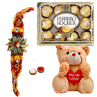 8 Inch Teddy Bear, 12Pcs. Ferrero Rocher n Rakhis<br /><font color=#0000FF>Free Delivery in USA</font>