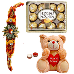 Delectable 12 Ferrero Rocher with 8 Inch Teddy Bear and Kids Rakhi<br /><font color=#0000FF>Free Delivery in USA</font>