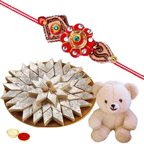 8 Inch Teddy Bear with 500 Gms. Kaju Katli n Rakhis<br /><font color=#0000FF>Free Delivery in USA</font>