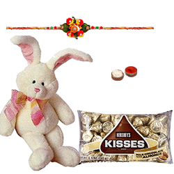 Mind-Blowing 8 Inch Bunny with Kids Rakhi and Hersheys Kisses Chocos 75 Gms.<br /><font color=#0000FF>Free Delivery in USA</font>
