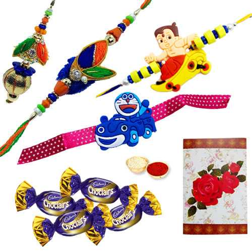 Enticing Combo of Rakhis with Chocolates and a Free Greetings Card<br /><font color=#0000FF>Free Delivery in USA</font>