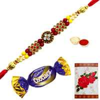 Attractive Rakhi Embellished with Jewels, a Chocolate and a Free Greetings Card<br /><font color=#0000FF>Free Delivery in USA</font>