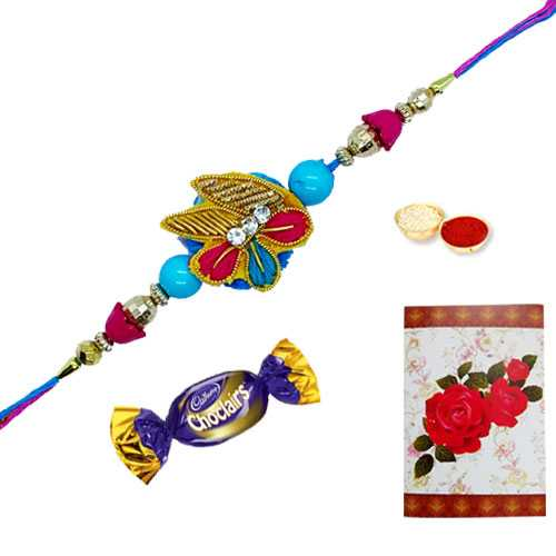 Classy Zardozi Designed Rakhi and Chocolates with a Free Greetings Card<br /><font color=#0000FF>Free Delivery in USA</font>