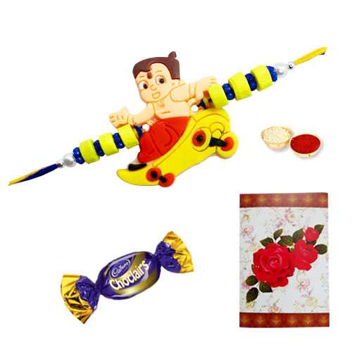 Fancy Tweety Bird Rakhi with a Chocolate and a Free Message Card<br /><font color=#0000FF>Free Delivery in USA</font>
