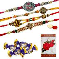 Exquisite Two Pairs of Om/Ganesh Rakhi, Two Pairs of Chocolates and a Free Message Card