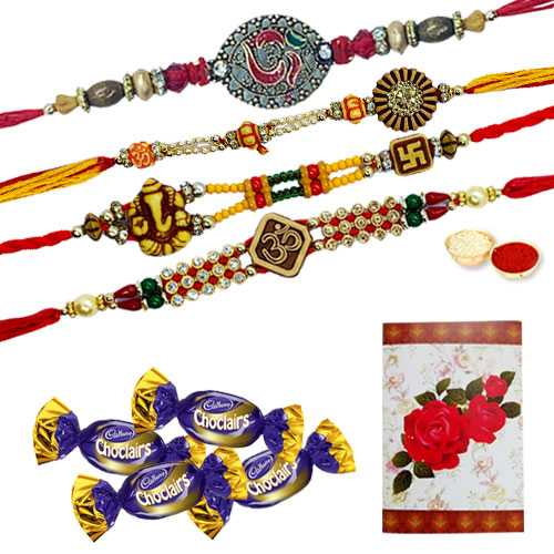 Exquisite Two Pairs of Om/Ganesh Rakhi, Two Pairs of Chocolates and a Free Message Card<br /><font color=#0000FF>Free Delivery in USA</font>