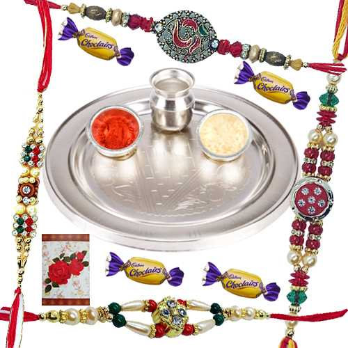 Elegant Silver Plated Puja Thali, 4 Rakhi, 4 Chocolates and a Free Message Card<br /><font color=#0000FF>Free Delivery in USA</font>