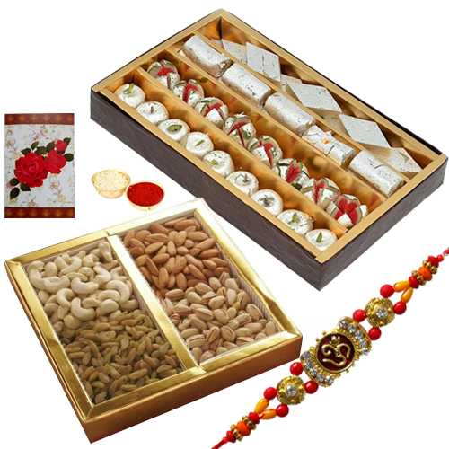 Wonderful One Rakhi with 500 Gms. Assorted Sweets and 500 Gms. Assorted Dry Fruits<br /><font color=#0000FF>Free Delivery in USA</font>