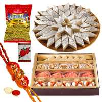 2 Rakhi with 250 Gms. Kaju Katli, 250 Gms. Assorted Sweets n 200 Gms. Bhujia<br /><font color=#0000FF>Free Delivery in USA</font>