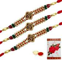 3 or More Designer Ethnic Rakhi  (Non Tracking) with Roli Tika<br /><font color=#0000FF>Free Delivery in USA</font>