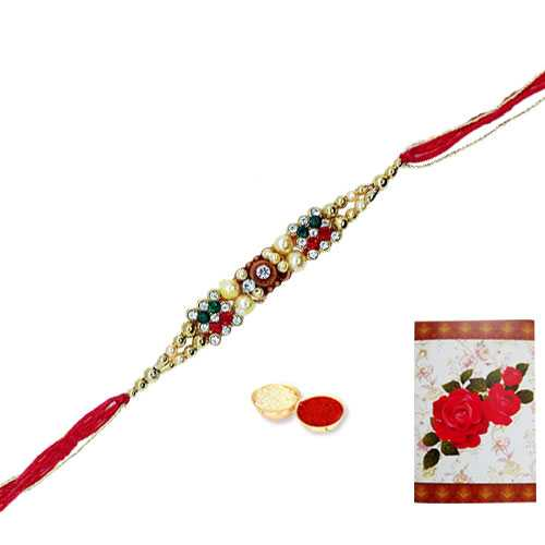 1 Jeweled Rakhi with Roli Tika<br /><font color=#0000FF>Free Delivery in USA</font>