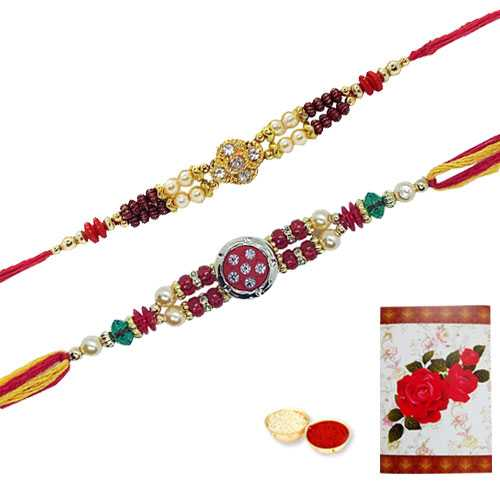 2 Jeweled Rakhi with Roli Tika<br /><font color=#0000FF>Free Delivery in USA</font>