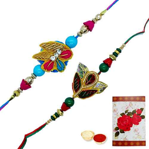 2 Zardosi Rakhi with Roli Tika<br /><font color=#0000FF>Free Delivery in USA</font>