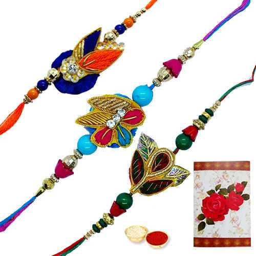 3 Zardosi Rakhi with Roli Tika<br /><font color=#0000FF>Free Delivery in USA</font>