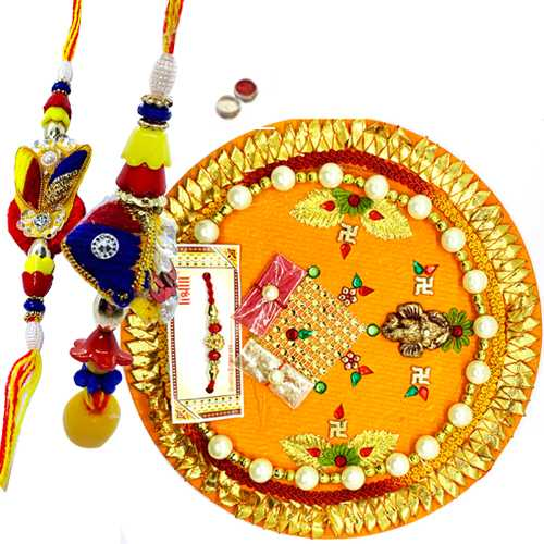 Thali with bhaiya-bhabhi pair<br><font color=#0000FF>Free Delivery in USA</font>