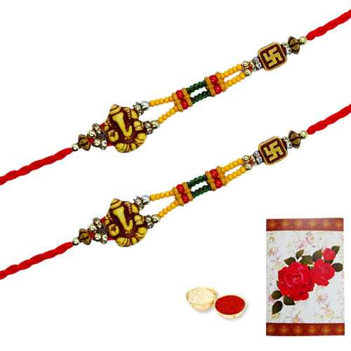 2 Auspicious Ganesh Rakhi ( Non Tracking )<br><font color=#0000FF>Free Delivery in USA</font>