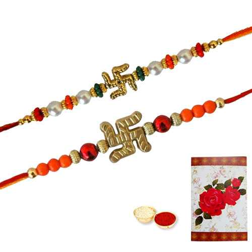 2 Propitious Swastik Rakhi ( Non Tracking )<br><font color=#0000FF>Free Delivery in USA</font>