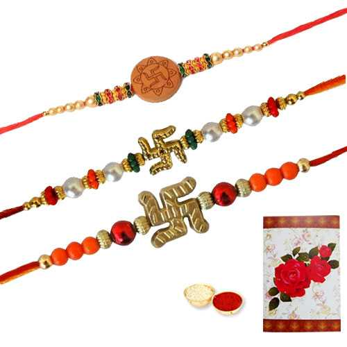 3 Propitious Swastik Rakhi ( Non Tracking )<br><font color=#0000FF>Free Delivery in USA</font>