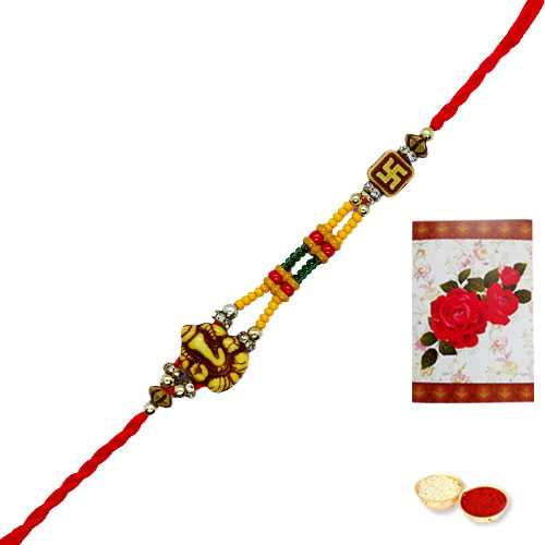 1 Auspicious Ganesh Rakhi<br><font color=#0000FF>Free Delivery in USA</font>