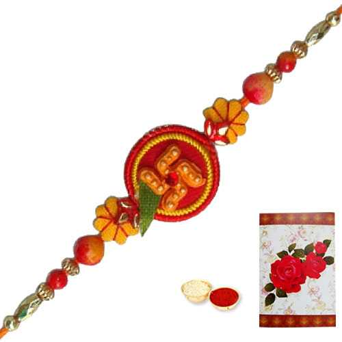1 Propitious Swastik Rakhi<br><font color=#0000FF>Free Delivery in USA</font>