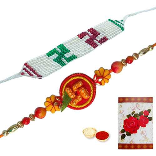 2 Propitious Swastik Rakhi<br><font color=#0000FF>Free Delivery in USA</font>
