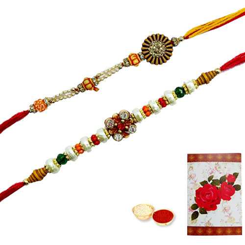 Auspicious Collection of 2 Rakhi Set<br><font color=#0000FF>Free Delivery in USA</font>