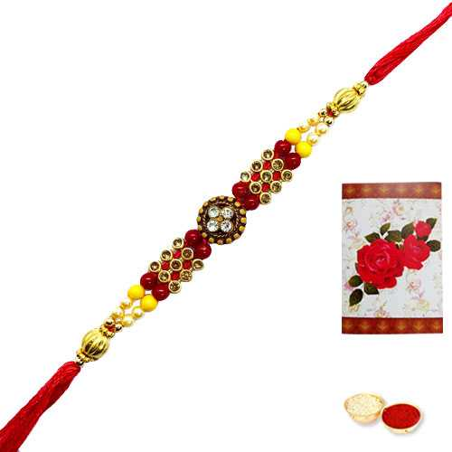 1 Auspicious Rakhi<br><font color=#0000FF>Free Delivery in USA</font>