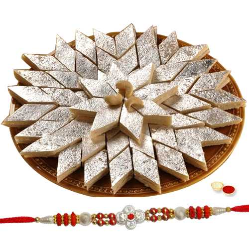 Kaju Katli and One Designer Rakhi with free Roli Tikka