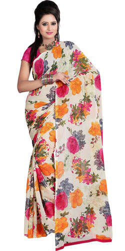Appealing Dani Georgette Printed Saree in Off White and Pink Colour