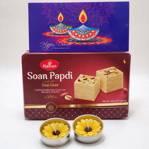 Gratifying Gift of Soan Papdi Gift Pack with Flowery Candles