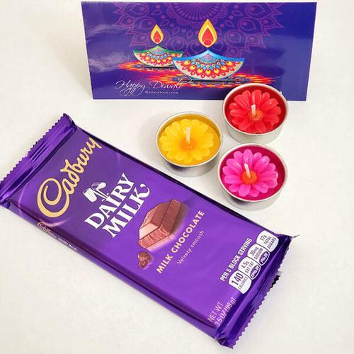 Exquisite Combo of Candles N Cadbury Chocolate