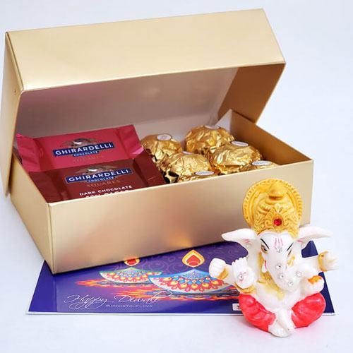 Amazing Gift of Yummy Chocolates with Moulded Ganesha