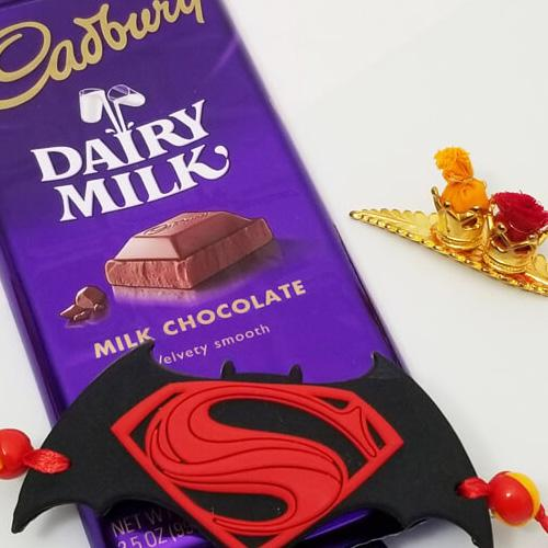 Superman Rakhi with Cadbury