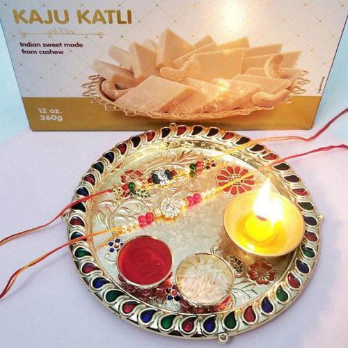 Rakhi Thali Set with Kaju Katli