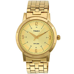 Retro-styled Golden Coloured Watch for Gents from Timex
