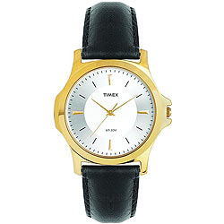 Dashing Golden Coloured Round Dialed Gents Watch Presented by Timex