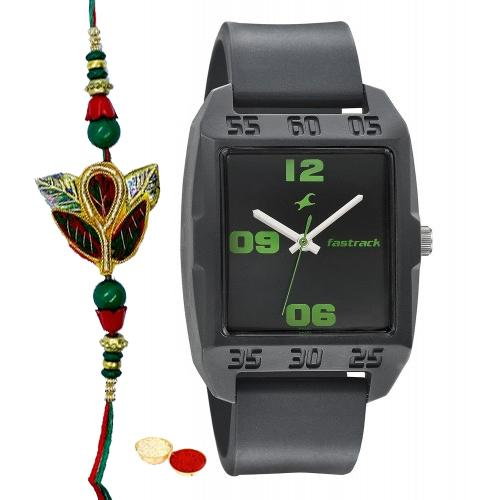 Appealing Titan Fastrack Gents Watch with One Rakhi and Roli, Tilak and Chawal.