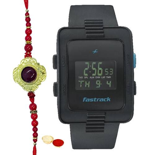 Sporty Titan Fastrack Gents Watch with One Rakhi and Roli, Tilak and Chawal.