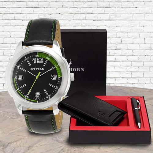 Marvelous Titan Watch with Wildhorn Wallet n Pen Set