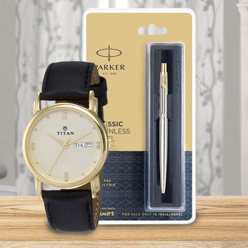 Marvelous Titan Watch and Parker Pen for Dad