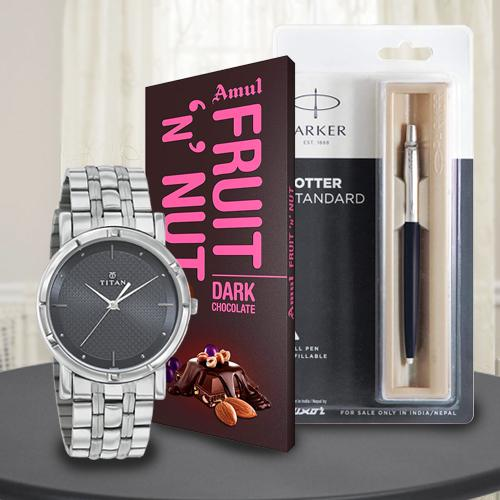 Exclusive Titan Watch with Parker Pen and Amul Chocolate